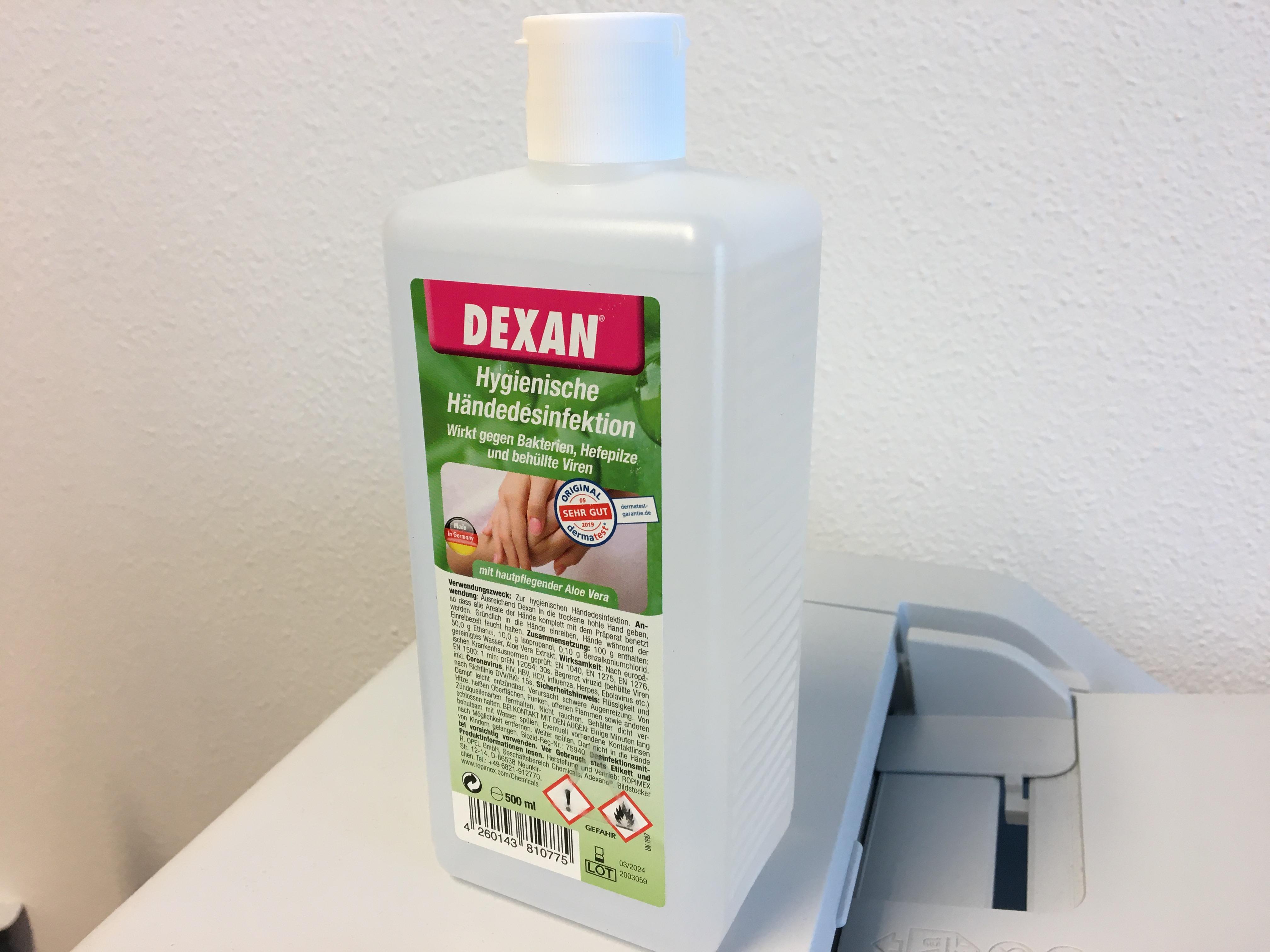 DEXAN handdesinfectie 500 ML met Aloe Vera