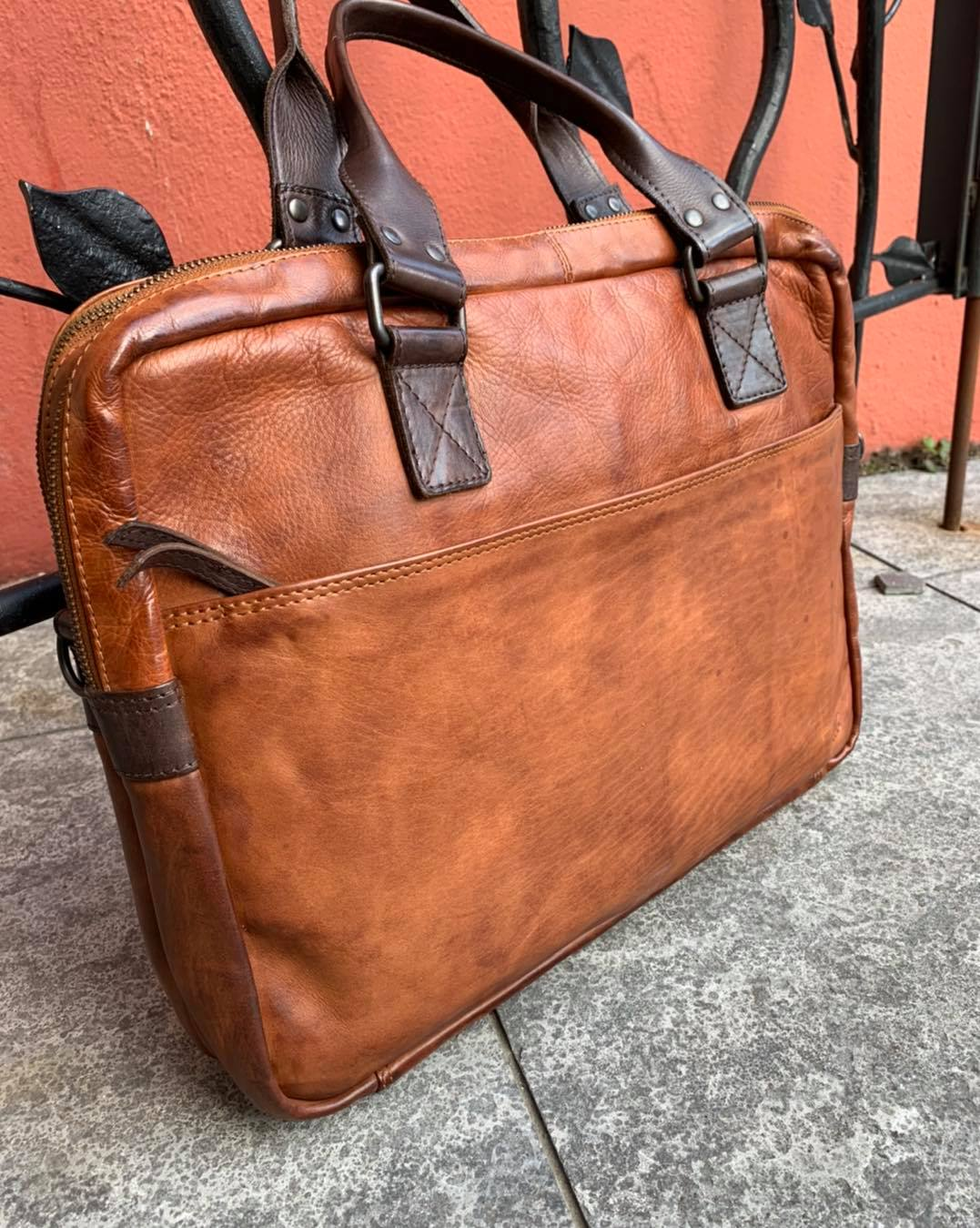 BEARDESIGN CL 32843 lederen laptoptas cognac/bruin